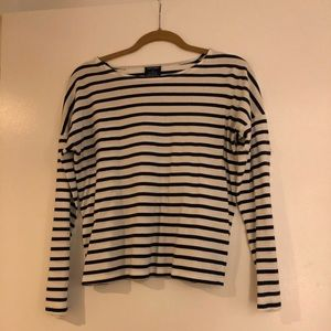 Saint James Striped Shirt Size S White with Navy